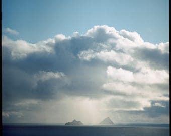 Ring of Kerry Seashores, Photography Print, Film, Analog, Two Islands, Clouds, Blue Sky, Rainy, Ocean, Sea, Irish, Ireland Print, Nautical