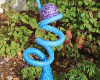 Baby Blue Glass Sculpted Tigger Tail with Raspberry Purple Ball Garden Art Finial Outdoor Garden Sculpture