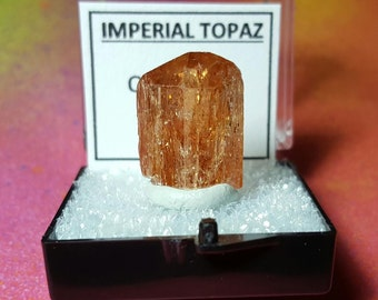 IMPERIAL TOPAZ 4.8 Gram Natural Sparkling Terminated Gemstone Crystal In Perky Specimen Box From Brazil