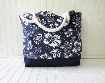 Beach Bag - Beach Tote Bag - Navy Beach Bag - Zippered Beach Bag - Large Beach Bag - Cute Beach Tote - Floral Beach Bag - Monogram Beach Bag