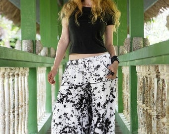 Floral Harem Pants, Plus Size Workout Pants, Floral Pants, White Pants, Yoga Pants, Boho Pants, Afghani Pants, Loose Pants, Oversized Pants