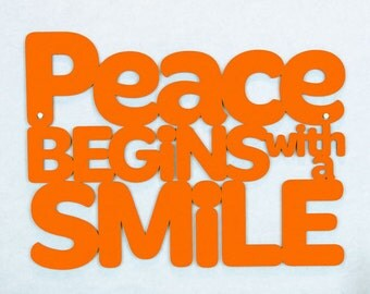 Peace Begins With A Smile Sign, Spiritual Wood Sign, Wood Quote Sign, Famous Quote Sign, Mother Teresa, Motivational Sign