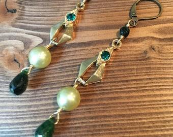 Emerald Isle Earrings Jewelry Vintage Green Pearl Gold Long Victorian Tourmaline