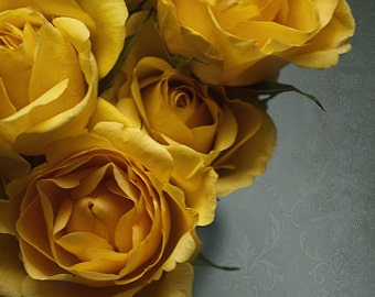 yellow roses bouquet nature photography Fine Art Photograph home decor