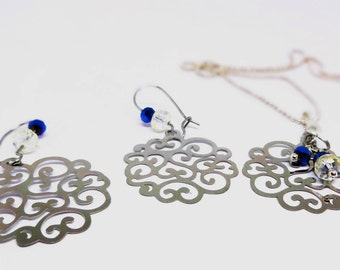 Stainess Steel Floral Filigree Earrings and Necklace, Titanium Blue & Pale Yellow Crystal Embelishments, Delicate, Light Weight Jewelry Set