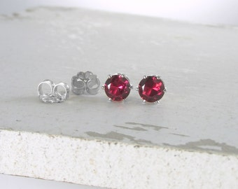 January Birthstone Earrings Silver Stud Earrings Garnet Earrings Post Earrings Birthstone Jewelry Red Stud Earrings Holiday Gift For Her