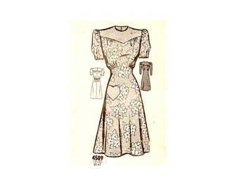 Vintage 30s Pattern - Vintage 40s Pattern - 30s Dress Pattern - 40s Dress Pattern - Unused - Marian Martin - Heart - WWII Era - Swing Dress