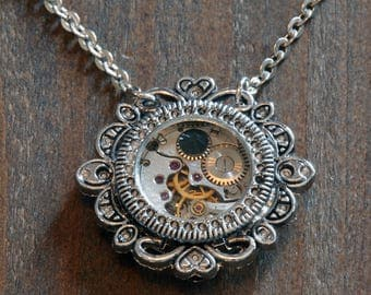 Steampunk Victorian Jewelry - Watch Movement and Jet Black Crystal