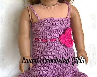 Doll Spring Dress, Handmade Crochet Doll Clothes, Doll Easter Dress, Doll Spring Outfit with Flowers, Purple Dress For 18 inch Doll