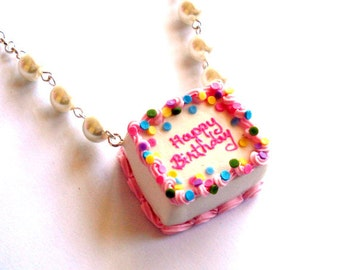Birthday Cake Necklace, Pink Happy Birthday Necklace, Ice Cream Cake Pendant, Miniature food Jewelry