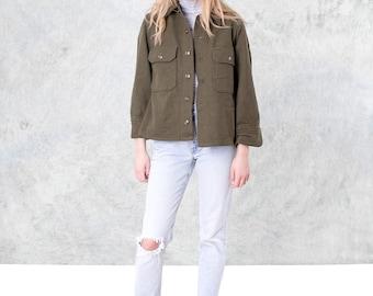 ARMY wool OVERSIZE shirt GREEN vintage Women Men long sleeves Spring jacket coat / Medium better stay together