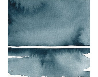 """Winter Windswept, Original Abstract Waterscape Painting, Watercolour, Indigo Blue, 5"""" X  5"""""""