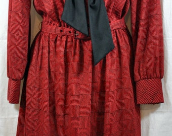 """70's Red and Black """"The Shirtdress"""" by Sears with Necktie - Vintage Womens Polyester Dress 0 Size 12"""