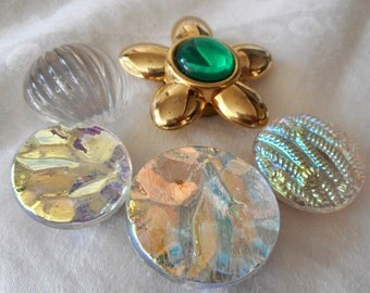 Lot of 5 VINTAGE Iridescent & Flower Plastic BUTTON Cover