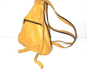 mustard leather backpack 80s vintage triangle rucksack