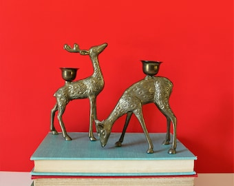 Vintage brass deer candle holders / brass deer / vintage deer / vintage candle holder