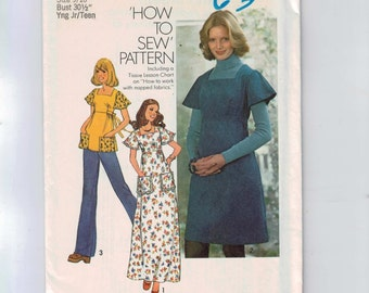 1970s Vintage Sewing Pattern Simplicity 7037 Junior Misses Teen Hippie Dress Tunic Smock Size 9/10  Bust 30 31 Young Junior 70s UNCUT