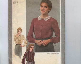 1980s Vintage Sewing Pattern Simplicity 9719 Misses Victorian Style Blouse Pleated Tucked Front lace Collar Size 12 Bust 34 1980