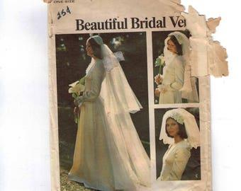 1970s Vintage Sewing Pattern Butterick 3753 Wedding Bridal Wedding Veil Headband Juliet Cap Long Short Train 1970s