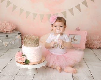 Pink and Gold Cake Smash Outfit Girl, First Birthday Outfit Girl, 1st Birthday Outfit Girl, 1st Birthday Tutu Skirt Set, First Birthday Tutu