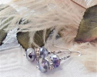 One of a Kind Handcrafted Sterling Silver Purple Iridescent Crystal Drop Earrings