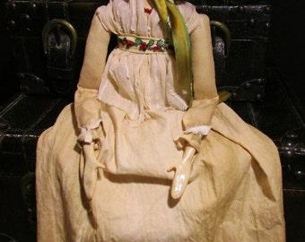 OOAK Aged Muslin Day Dress and Bonnet Grodnertal, Regency Doll - Primitive Folk Art