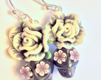 Sugar Skull Earrings Day of the Dead Skull and Rose Earrings in Black and White