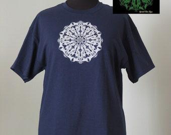 Graphic tee, glow in the dark mandala shirt by grateful dan, screen printed mandala, luminous mandala, hand printed phosphorescence mandala