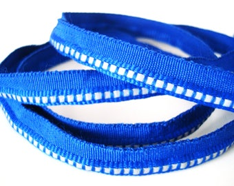 Reflective Fabric Sewing Tape - 1 Yard or 1 Meter - Blue with Silver Reflective Dots or Dashes 1/2 inch Webbing Grosgrain Material