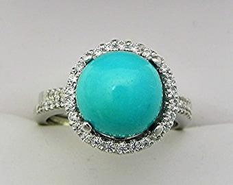 AAAA Sleeping Beauty Turquoise from Arizona 10mm 4.28 Cts 14K white gold Diamond Halo Wedding Bridal set .60 carats of diamonds 2363