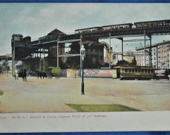 Postcard 110th Street Highest Point Railway Train New York NY Antique Divided Back 1908