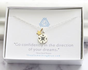 Graduation Gift • Compass & Star Charm Necklace • Student Gift • College Student • Class Of 2017 • Grad Gift Idea • Compass Necklace • G01