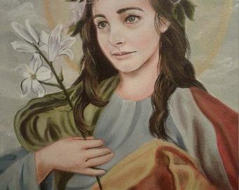 St. Rosalia of Palermo, Virgin, Hermit, Prints on 110lb White Card Stock, Catholic Art taken from my original acrylic painting Signed