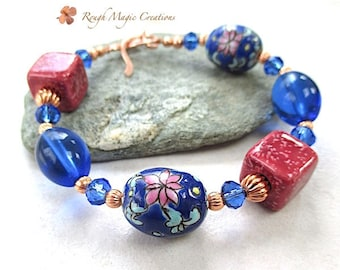 Chunky Bracelet, Rose Pink & Blue Spring Flowers, Colorful Floral Asian Beads, Cobalt, Sapphire Swarovski Crystal, Copper Toggle Clasp B542