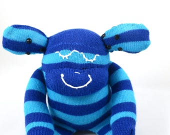 New* Mini Sock Monkey ALISTAIR : blue, stripe, baby boy handmade plush sock toy softie. Newborn safe.