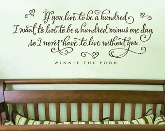 Nursery wall art - If you live to be a hundred - Winnie the Pooh quote - wall decals nursery - baby nursery decor