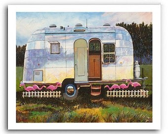 "Airstream Trailer Flamingo Art ""Flamingo Inn"" (Three Sizes to Choose) Prints Signed and Numbered"