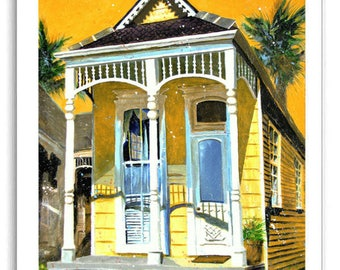 New Orleans Garden District French Quarter Shotgun House Art Prints Signed and Numbered