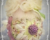 Quilted and Beaded Shabby Chic Purple Victorian Ornament