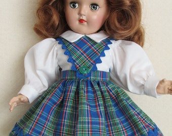 "For 14"" P-90 Ideal Toni - One of a Kind School Girl Dress in Blue and Green Plaid"