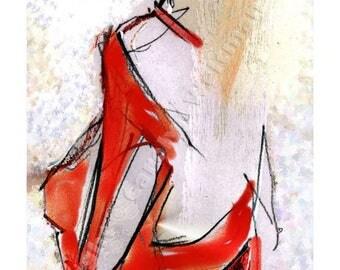 Hand Decorated Shoe Illustration - Tango