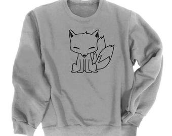 Kitsune Sweatshirt Japanese Fox Cute Furry Smiling Tails Asian Otaku Anime Kawaii Clothes