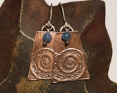 Copper Boho Earrings Textured Metalwork Fossil with Blue Quartz Bead Accents