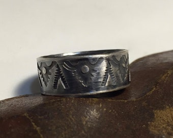 Sterling Silver Hand Stamped Ring - Textured  - Wide Band - Made to Order