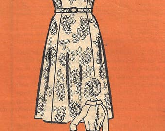 1960s Dress Pattern Mail Order Wide Collar Half Size Back Zip Vintage Sewing Women's Misses Size 18. 5 Bust 39 Inches