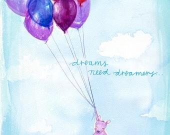 Dreamers Archival Wall Art Print Kids Decor Nursery Unisex