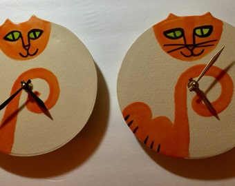 Cat decor Wall clock 6 or 8 inch: handmade orange white Pottery kitty lover Veterinary Pet Resort designer happy playful ceramic wall decor