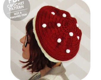 crochet pattern - mushroom hat - toadstool hat - slouchy beret - slouchy hat crochet pattern - whimsical - mori girl - pompoms - fall autumn