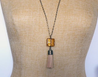 Amber Bead Tassel Pendant, Long Necklace with Tassel, Trendy Tassel Necklace, Beige and Brass Jewelry