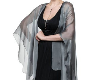 Silver Grey Sheer Silk Cardigan Cape OLIVIA